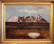 Cats With Attitude! 19th Century Oil Fully Restored Gold Lemon Leaf Frame