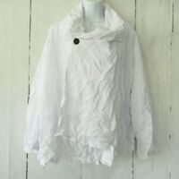 Comfy USA Cardigan Top 1X White Crinkle Lagenlook Plus Size Jacket