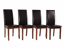 Set of 4 Dining Room Kitchen Solid Wood Hardwood Side Padded Chair Dark Walnut