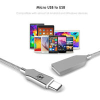 1M 2.4A Zinc Alloy Micro USB/Type C Fast Charging Charger Data Sync Cable Cord