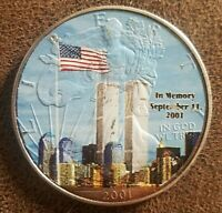 1 oz  2001 Silver American Eagle PAINTED in Memory of 9/11 - .999 -Encapsulated
