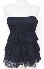 Island Escape Size 8 Solid Black Crochet Tiered Tankini Swim Top NO STRAP NWT