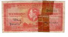 BERMUDA 10 Shillings F/VF Net King George VI Banknote (1937) P-10b Prefix N/2