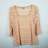 Lucky Brand Womens Top Size M Orange 3/4 Sleeves Square Neck Sheer Knit
