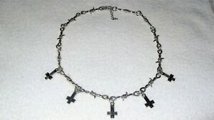 Inverted Upside Down Cross Choker Necklace Jewelry Barb Barbed Wire Chain Goth