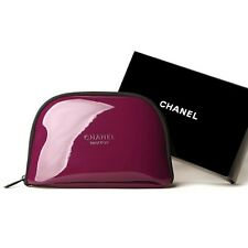 New Chanel Plum Cosmetic PU Makeup Case/Bag Toiletries Clutch in Box
