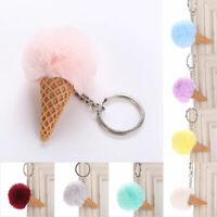 Furry Ice Cream Key Chain Ring Keyring Keychain Handbag Charm Pendant Decor 12UK