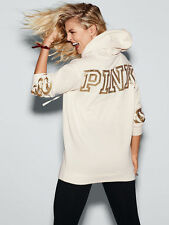 NWT VICTORIA SECRET PINK Gold Sequin Bling White Campus Pullover Hoodie S NEW