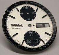 New White Dial With Black Tachymeter Inner Dial Ring For Seiko Panda 6138-8020