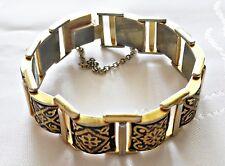 VINTAGE AUTHENTIC DAMASCENE TOLEDO SPAIN GOLD TONE METAL TANK TRACK BRACELET