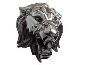 Large Metal Lion Wall Head Figurine Statue Faux Taxidermy 15x12 inches