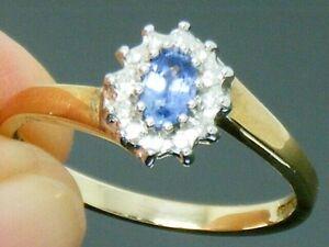 9ct Gold Ceylon Sapphire & Diamond Hallmarked Cluster Ring size O