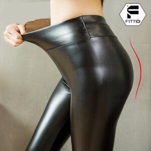 Damen Thermo Kunstleder Yoga Leggings Wet Look Glanz Schlank Hose Optik Leggins