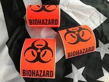 "3x4"" BIOHAZARD Decal Warning Sticker (x2) Danger Label Medical OSHA Safety"