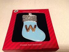 "Harvey Lewis Crystals From Swarovski "" W"" stocking Christmas Ornament New"