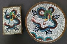 Antique Chinese Cloisonne Match Box Cover Holder & Plate Tray, Dragon Design