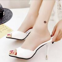 Womens Slippers Shoes Stilettos High Heel Summer Peep Toe Pump Mules Shoes size