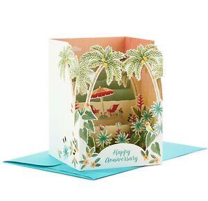 Hallmark Anniversary Card ~ Paper Wonder Pop Up Shadow Box ~ Beach Side Chairs