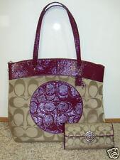 Coach Berry Khaki North South Laura Handbag Tote Bag Signature C Large Wallet