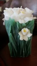 Carved Daffodils Candle Vintage Handmade 6 in. high