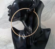 Huge hoop earrings - 11cm big twisted style GOLD TONE hoops - Oversized earrings