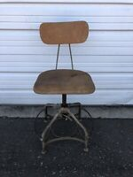Vintage Advance Tall DRAFTING STOOL Desk Chair INDUSTRIAL Antique MACHINE AGE