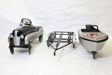 RARE  Murray Dip Side Car Boat Trailer Matching Set Vintage Pedal Car