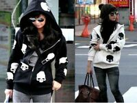 Fashion Korean women's skull casual hooded jacket zipper cardigan sweater