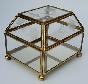 Vintage Brass and Glass Rectangular, Footed Jewelry/Trinket Box With Domed Lid.