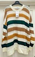 Womens Next Knitwear Green Stripe Long-Sleeved Jumper - UK Size -XL