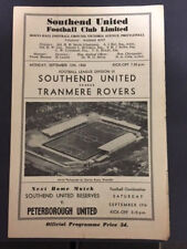12/09/1960, SOUTHEND UNITED V TRANMERE ROVERS, DIV 3