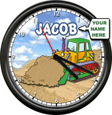 Personalized Construction Bulldozer Loader Kids Boys Room Tools Sign Wall Clock