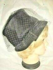 Vintage Hat Black Velvet Bucket Brim Tuck Union Label 60s Women Ladies Millinery