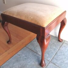 2 Big Vintage Queen Anne Foot Stool Bench Vanity Piano Mahogany Upholstered Wood