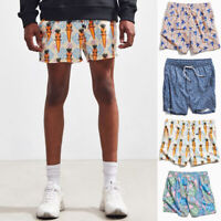 Mens Floral Beach Shorts 3D Printed Summer Vacation Swim Surf Hawaiian Pants