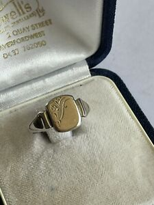 Vintage 9ct On Sterling Silver Signet Dress Ring Size O 2.5 Grams Ladies Mens
