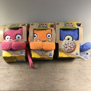 """3x Hasbro Ugly Dolls Wage, Ugly Dog And Moxy To-Go Stuffed Plush Toy 5"""" Clip On"""