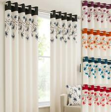 LILY Ring Top Fully Lined Floral  Eyelet Curtains RED BLK TEAL ORANGE PURPLE