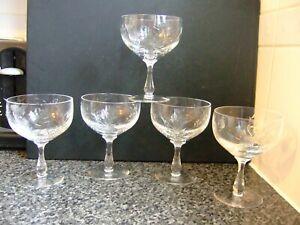 SET FIVE EDINBURGH CRYSTAL THISTLE CUT CHAMPAGNE WINE GLASSES COUPES