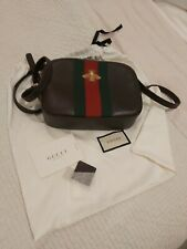 Authentic Gucci Bee Web Brown  Leather Shoulder Bag
