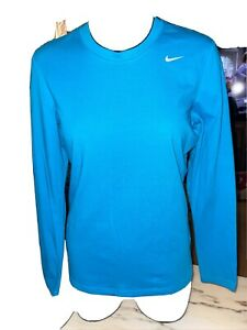 NIKE SPORTS TEE Women's Size M Active Long Sleeve Cotton FIT-DRY blue