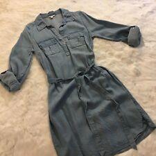 Women's Sonoma Casual Blue Denim Jean Dress 3/4 Cuffed Sleeve Knee Length Sz XS