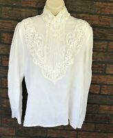 Vintage High Neck Lace Back Button Shirt Long Sleeves Ivory McClintock Regal VTG