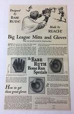 1927 Reach baseball gloves ad ~ BABE RUTH ~ 7x12