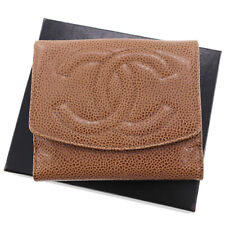 CHANEL CC Bi-fold Wallet Brown Caviar Skin Leather Italy Vintage Auth #Y962 M