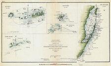 1853 Nautical Chart Coast Survey Map Decor Key Biscayne Bay West Cedar Florida