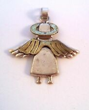 Vintage Brass and Sterling Silver Angel Pendant 925 Mexico