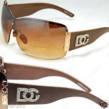 New DG Shield Metal Heart Womens Designer Sunglasses Shades Large Brown Fashion