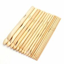 16Pcs Crochet needles knit in wood knitting wool 2.0 mm-12.0 mm Crochet Hook E3D