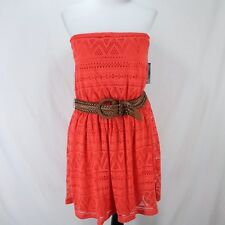 No Boundaries NOBO Strapless Dress Sz XXL 19 Coral Lace Crochet Overlay New